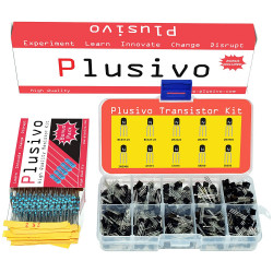 Plusivo BJT Transistors Assortment Kit - Set of 210 PNP and NPN Assorted Transistors with 250 Assorted Resistors
