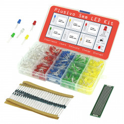 LED Assortment Kit (500pcs) with Bonus PCB and 220Ω Resistors