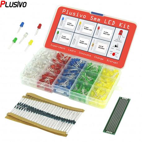 LED Assortment Kit (500pcs) with Bonus PCB and 220Ω Resistors